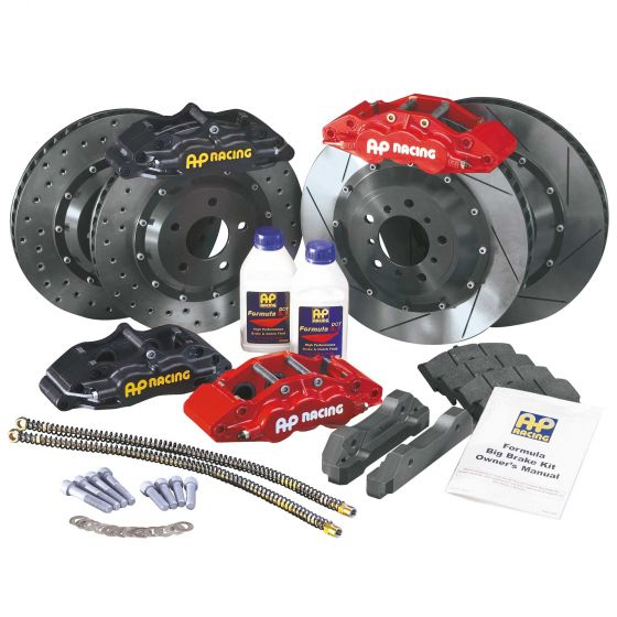 A P Racing Formula Big Brake Front Kit – 295mm Drilled Discs – Red 4 Piston Calipers, 295mm Drilled Discs – Min 16 Inch Wheels, Red