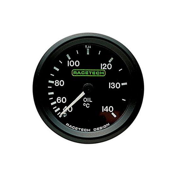 Racetech Oil Temperature Gauge – Mechanical – 9 Ft Long Capillary, Black