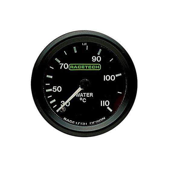 Racetech Water Temperature Gauge – Mechanical – 9 Ft Long Capillary, Black