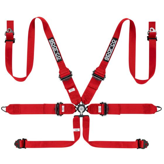 Sparco Pro Endurance 6 Point FHR Harness, Red