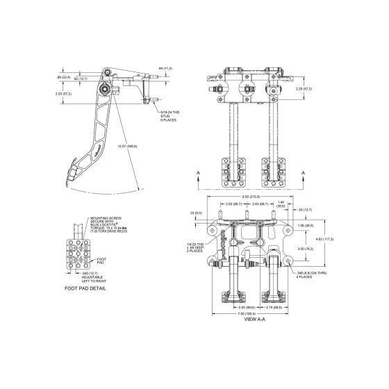 Wilwood Tru-Bar 2 Pedal 6.25 Ratio Universal Swing Mount Pedal Box – Forward Facing Cylinders
