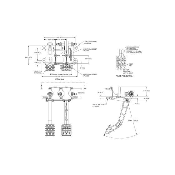 Wilwood Tru-Bar 2 Pedal 6.25 Ratio Universal Swing Mount Pedal Box – Rear Facing Cylinders
