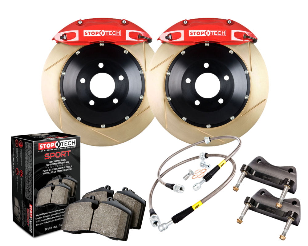 StopTech Big Brake Kit; Black Caliper; Slotted Two-Piece Rotor; Front Audi Front Model #83.100.4300.73