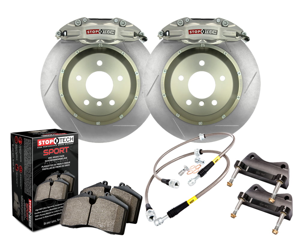 StopTech Trophy Sport Big Brake Kit; Silver Caliper; Slotted 2-Piece Rotor; Rear Nissan Rear